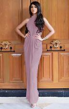 Womens Long Formal Sleeveless Pleated Flowy Halter Neck Bridesmaid Maxi Dress