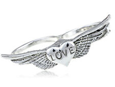 Vintage Inspired Love Heart Happy Wings Double Finger Silver Knuckle Ring Jewel