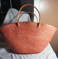 EXTRA LARGE ORANGE STRAW TOTE BEACH BAG PURSE SHOULDER HANDBAG POOL TRAVEL