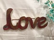 Recycled Metal 3D Sign - LOVE- Smokey Red w Rusty Patina - Wall Art