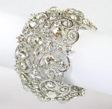 Vintage Style Crystal Cuff Women Bridal Fashion Bangle ( Silver / Clear )