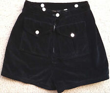 VINTAGE Rare 1940's Black Velvet High Waist Shorts MOP Talon Zip STUDIO PIECE XS