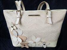 BRAHMIN Handbag Purse Designer Embossed Alligator Leather Woven flowers Cream