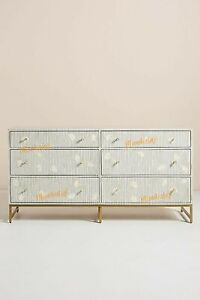 Bone Inlay Chest of 6 Drawers Flower Design Table Grey Color With Insurance Home
