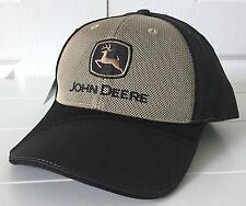 John Deere Black & Beige Micro Mesh Sandwich Hap Cap Adjustable