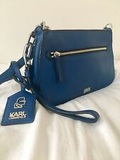 Karl Lagerfeld small cross body blue leather bag