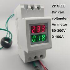 2P 36mm Din rail Dual LED display Voltage and current meter range 80-300V 0-100A