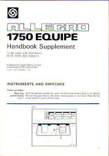 Austin Allegro 1750 Equipe original Handbook Supplement 1979