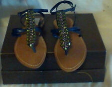 ENZO angiolini shoes,BLUE LEATHER,PINK/GREEN EMBELLISHMENTS,SIZE 6.5
