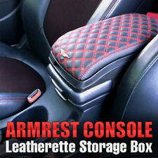 Universal Armrest Arm Rest Center Console Storage Box Leatherette (Red)