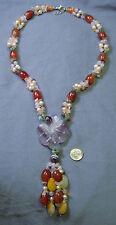 Beaded necklace semiprecious beads 3 str w/ fluorite flower pendant tassel fj031
