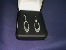 SILVER OVAL HOOP EARRINGS WITH PAUA SHELL - NEW AND BOX