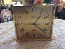 Vtg. BUCHERER~IMHOF Brass Desk Table Quartz Clock Swiss Made~Working Condition.