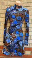 H&M BLUE BROWN FLORAL VISCOSE LONG SLEEVE HIGH NECK FIT A LINE SKATER DRESS 6 XS