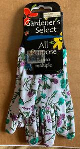 Gardener's Select All Purpose Gloves Ladies Gardening Floral White Green Purple