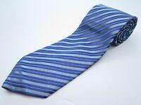 Charvet Paris Place Vendome Silk Blue Textured Striped Necktie Made in France