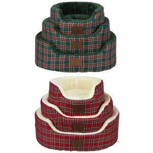 Bunty Heritage Tartan Soft Fur Fleece Dog Bed Washable Pet Basket Mat Cushion