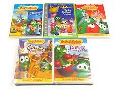 Lot of 5 VeggieTales DVDs Gideon, Pickle, Wizard, Kids, Life, Rack, Christmas