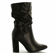 Stivale donna arricciato tacco alto largo boots stivaletti camoscio al polpaccio