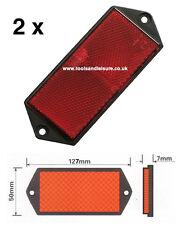 2 x Red Rear Screw On Trailer & Truck Reflectors, Oblong, Rectangle, Reflector