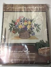 Vtg Needlepoint Paragon Creative Crewel Stitchery Kit Bright in a Corner Floral