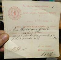 1924 MASSONERIA: RICEVUTA DELLA SERENISSIMA GRAN LOGGIA NAZIONALE ITALIANA