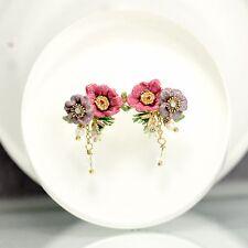 Earrings Studs Little Flower Pink Enamel Freshwater Pearl Green Leaf Tassel L2