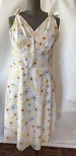 Howard showers 10 yellow floral sun dress tea length vintage preppy style cotton