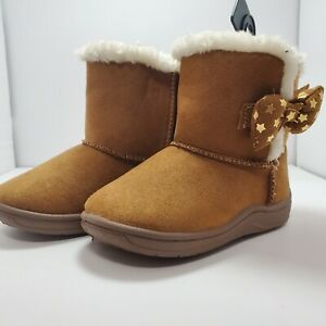 Garanimals Boots Brown Faux Suede Lined Faux Fur Toddler Sizes 3, 5, & 6
