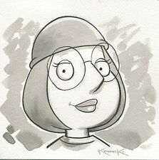 Family Guy Meg OOAK Original Hand Inked Illustration Drawing Signed COA pj