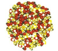 Mini 9 x12mm Mixed Yellow Bees & Red Ladybirds Wooden Craft Card Wood Toppers
