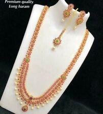 Bollywood CZ Ad Polki Kundan Handmade Jewelry Bridal Necklace Set Statement ruby