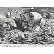 Collaert Sea Monsters Around A Ship Engraving Wall Art Canvas Print 18X24 In