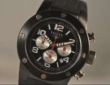 New Mens Elysee 28409 Chronograph Black Rubber Strap Watch