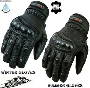 MENS CARBON KNUCKLE SHORT WINTER OR SUMMER MOTORBIKE / MOTORCYCLE LEATHER GLOVES