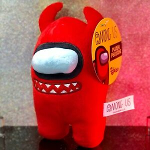 """New Toikido Among Us Red Devil 6"""" Crewmate Imposter Plush Rare Plushie Toys NWT!"""