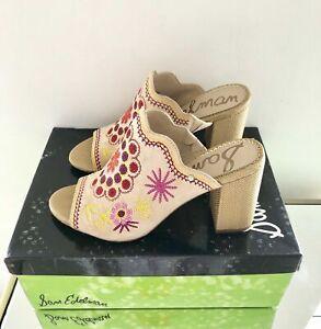 Sam Edelman Beige Mule Sandals, Size UK 5 EU 38, Block High Heels, Bohemian