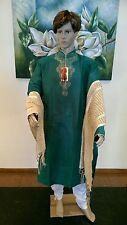 "36"" XS 90Cm Silk Sherwani Suit Indian Bollywood Mens Kurta Green Cream KA6"