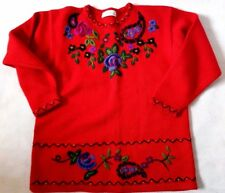 Vintage WOOL BLEND Knit Red Embroidered Floral  Jumper 14 UK RETRO St Michael