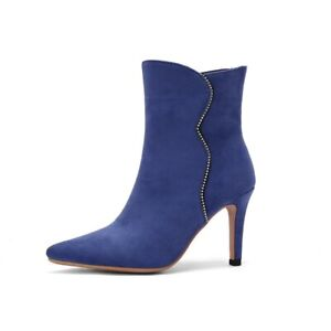 Women's Sexy Stilettos High Heel Pointy Toe Pull On Ankle Boots Casual 34-43 L