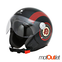 Casco Demi Jet Rodeo Drive RD105N Nero Bordeaux Omologato Scooter Moto Helmet