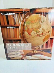 "Tecnodidattica Illuminated Light Up World Globe w/ Real Wood Base ~ Diameter 12"""