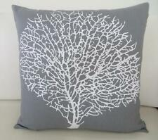 White Painterly Coral on Storm Grey Cotton Cushion Cover 45cm Beach Hamptons