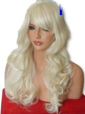 Pale Bleach Blonde Ladies Wig Curly Long fringe natural costume womens Wig M5