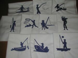Machine Embroidered  Fishing Quilt Blocks