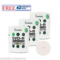 300 Ps SmartBuy DVD-R DVDR 16X 4.7GB White Inkjet Hub Printable Recordable Disc