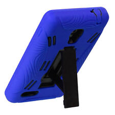 For LG Optimus L9 Impact Hard Rubber Case Phone Cover Kick Stand Blue Black