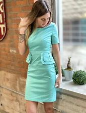 Karen Millen Aqua Cocktail Peplum Wiggle Pencil Dress DQ103 Womens US Size 4