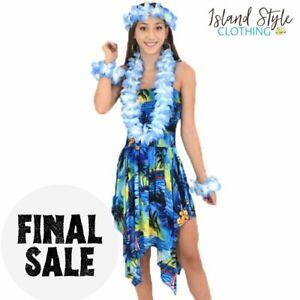 Blue Sunset Pixie Dress Hawaiian Print + Lei Set Costume