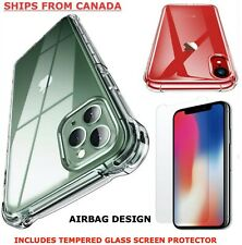 For iPhone 12 11 Pro XS Max XR X 7 8 Plus Case Clear Shockproof Tempered Glass